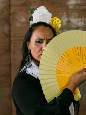 Leque Flamenco Abanico Pericón Espanhol Médio 27cm