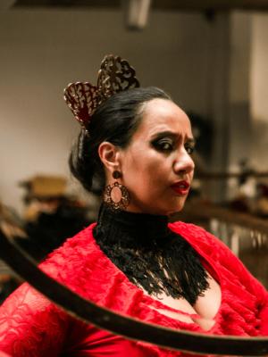 Blusa Flamenca Begônia Manga Renda Evasé Preta
