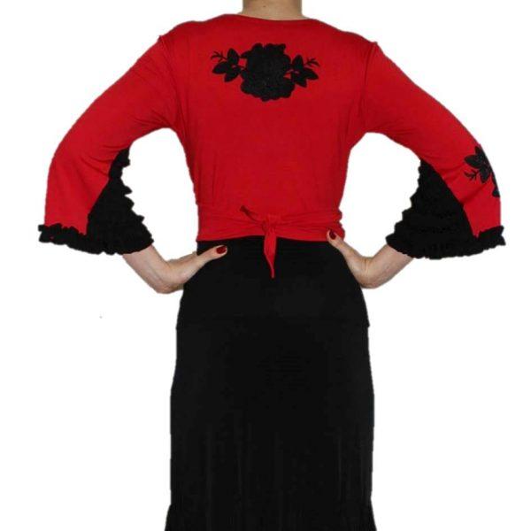 Manguito camélia vermelho flores pretas