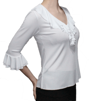 Blusa bromélia branca gola renda  manga 3/4 babados