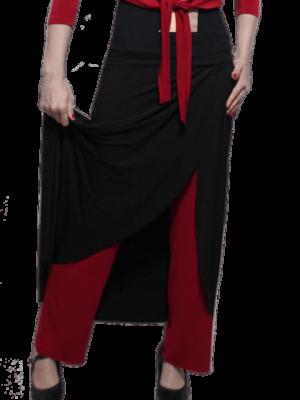 Calça Saia Flamenca Papoula Preta e Vermelha