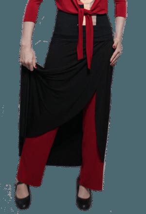 Calça papoula preto com vermelho