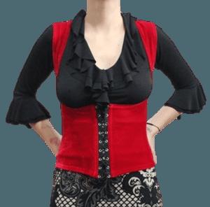 Colete cigano veludo liso vermelho