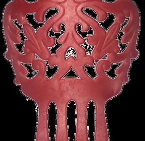 Peineta grande efeito amadeirado vermelha 17cm X 12cm