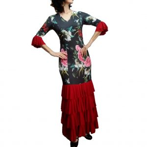 Vestido gérbera flamenco floral vermelho