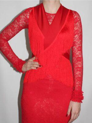 Mantoncillo Flamenco Franja 15cm Vermelho