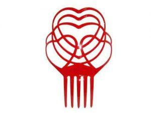 Peineta plástico vermelha corações 17X20cm