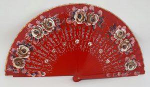Leque abanico 23cm jasmines vazado e pintado à mão vermelho