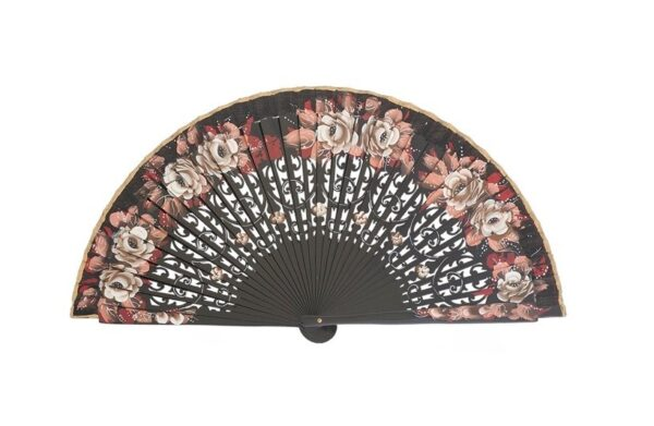 Leque abanico 23cm jasmines vazado e pintado à mão preto