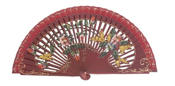 Leque abanico 23cm flores vazado e pintado à mão bordô