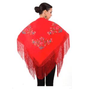 Xale espanhol triangular (pico) vermelho com flores coloridas 160x80cm