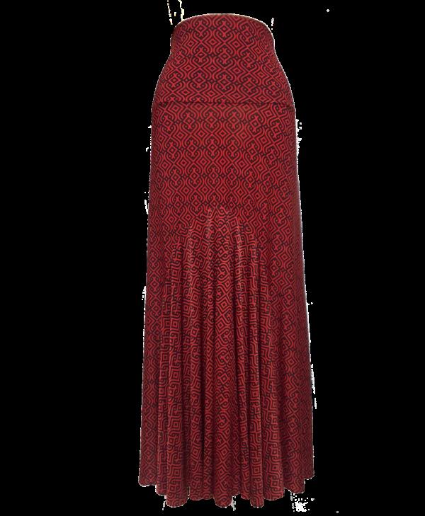 Saia Flamenca Alamanda Vermelha Estampa Geométrica