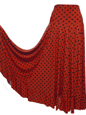 Saia Flamenca Hibisco Vermelha Poá Preto