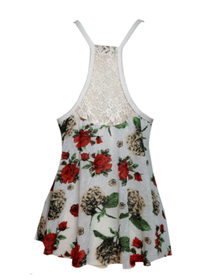 Regata Flamenca Julia Branca com Floral